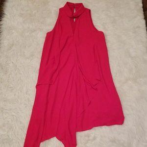 Maggy London red cassade swing dress Sz 4